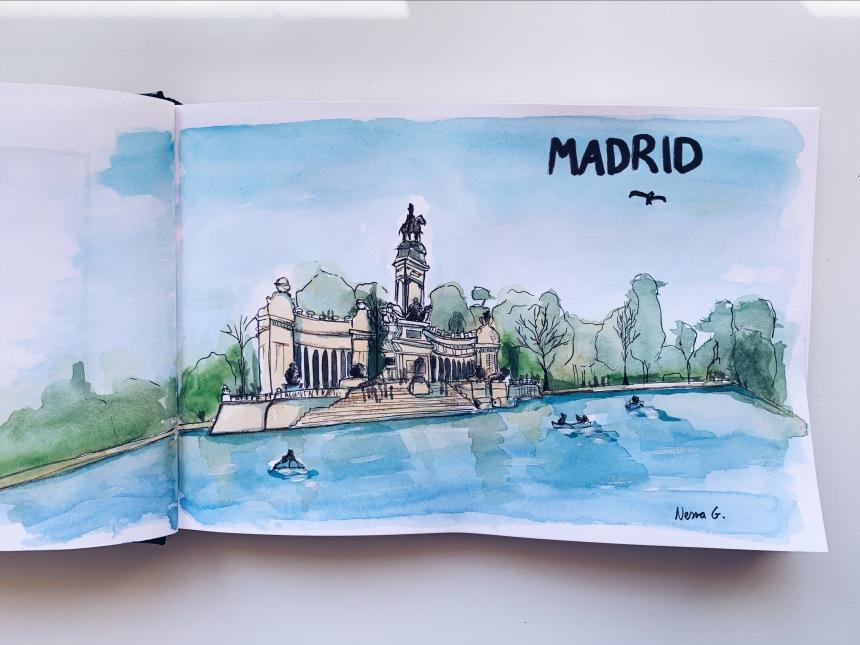 Urban Sketching Madrid. Parque del Retiro.