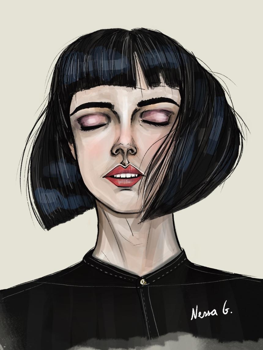 Chica con media melena negra.